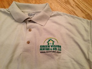 Embroidered T-Shirt for Green Vision Heating & Air