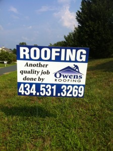 Coroplast Signs for Owens Roofing